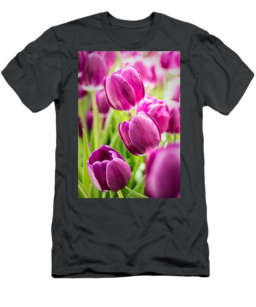 Purple Tulip Garden Men's T-Shirt (Athletic Fit)