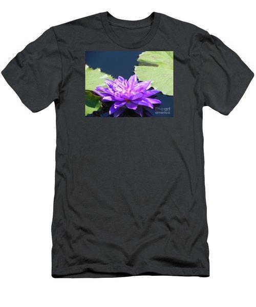 Men's T-Shirt (Slim Fit) featuring the photograph Purple Waterlilie Flower by Chrisann Ellis