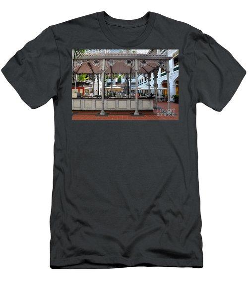 Raffles Hotel Courtyard Bar And Restaurant Singapore Men's T-Shirt (Slim Fit) by Imran Ahmed