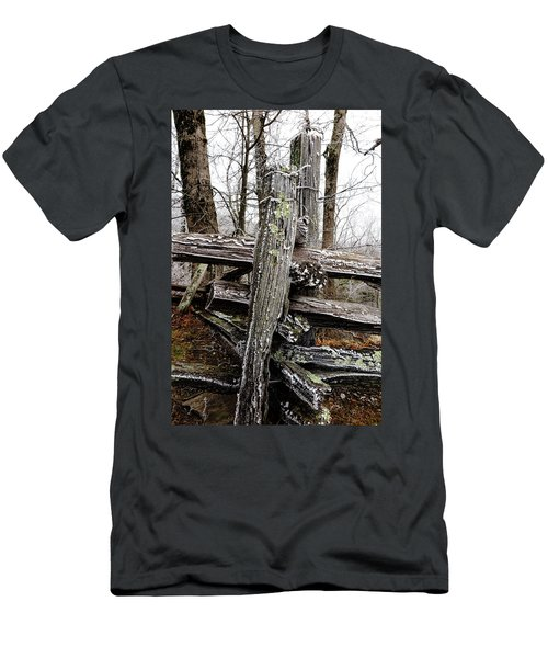 Rail Fence With Ice Men's T-Shirt (Athletic Fit)