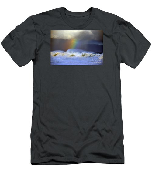Rainbow On The Banzai Pipeline At The North Shore Of Oahu Men's T-Shirt (Slim Fit) by Aloha Art
