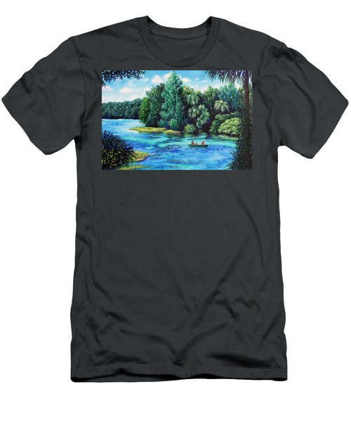 Men's T-Shirt (Slim Fit) featuring the painting Rainbow River At Rainbow Springs Florida by Penny Birch-Williams