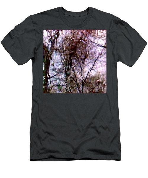 Men's T-Shirt (Slim Fit) featuring the photograph Rainscape - Rain On The Window Series 1 Abstract Photo by Marianne Dow