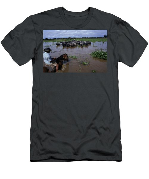 Rancher Rounding Up Cattle Men's T-Shirt (Athletic Fit)