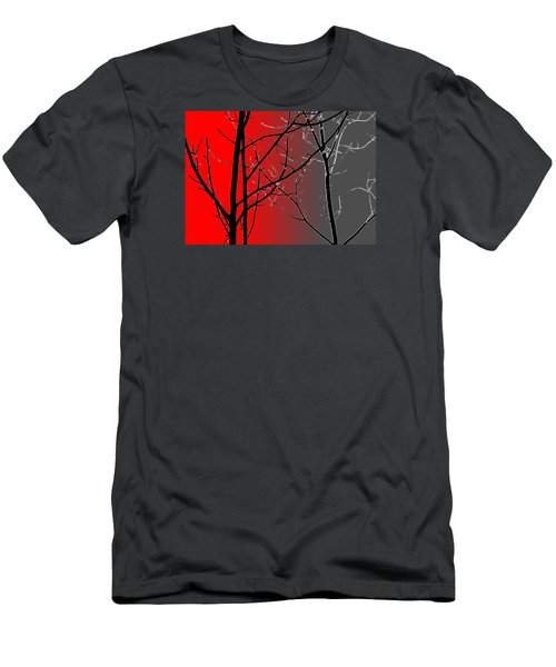 Red And Gray Men's T-Shirt (Slim Fit) by Cynthia Guinn