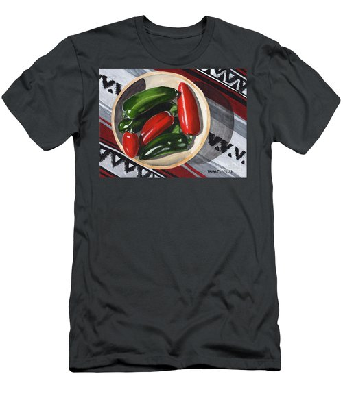 Men's T-Shirt (Slim Fit) featuring the painting Red And Green Peppers by Laura Forde