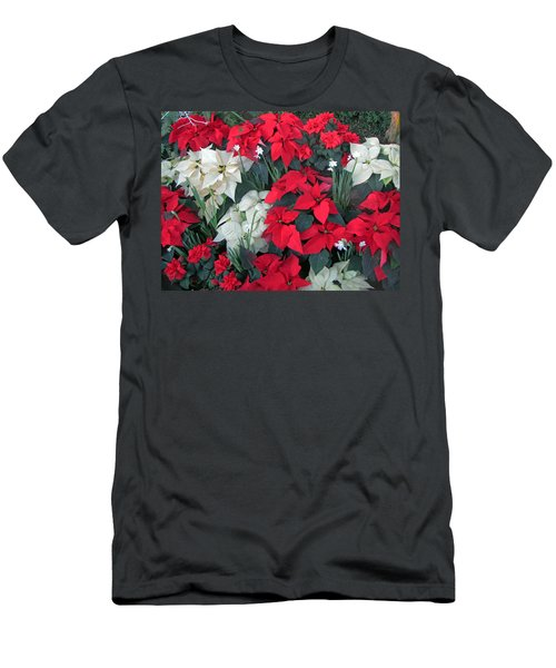 Red And White Poinsettias Men's T-Shirt (Athletic Fit)
