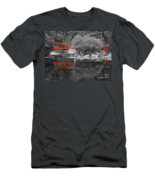 Red Bridge Black And White Men's T-Shirt (Athletic Fit)