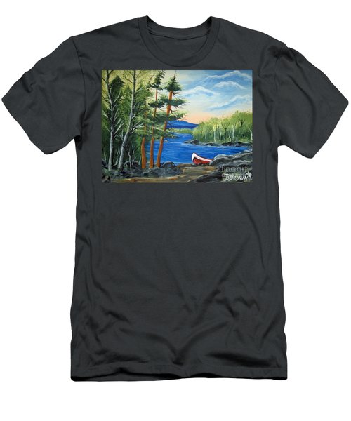 Men's T-Shirt (Slim Fit) featuring the painting Red Canoe by Brenda Brown