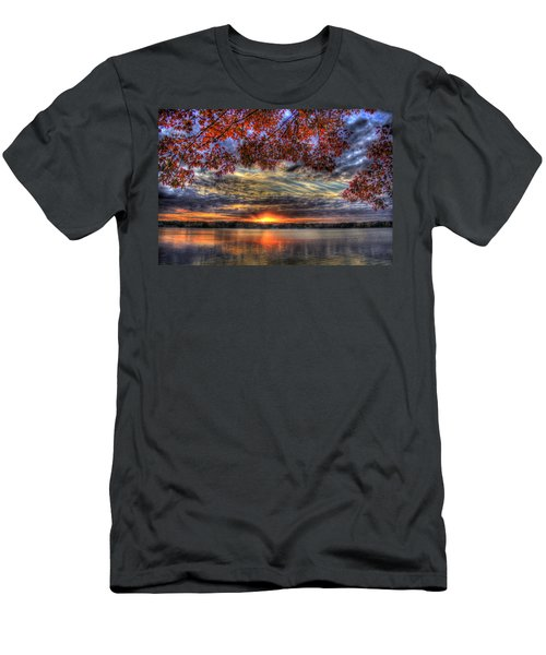Men's T-Shirt (Athletic Fit) featuring the photograph Good Bye Till Tomorrow Fall Leaves Sunset Lake Oconee Georgia by Reid Callaway