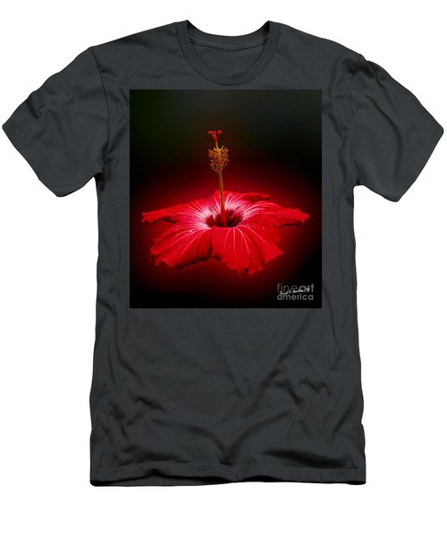Red Hibiscus Tropical Flower Wall Art Men's T-Shirt (Athletic Fit)