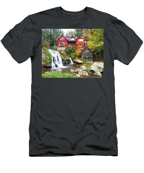 Red House By The Waterfall Men's T-Shirt (Athletic Fit)