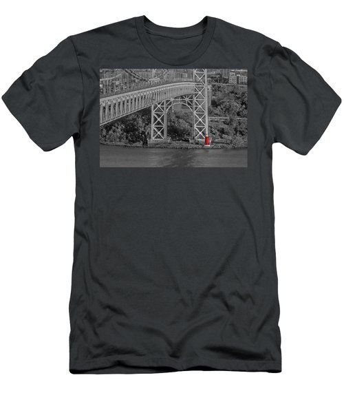 Red Lighthouse And Great Gray Bridge Bw Men's T-Shirt (Athletic Fit)
