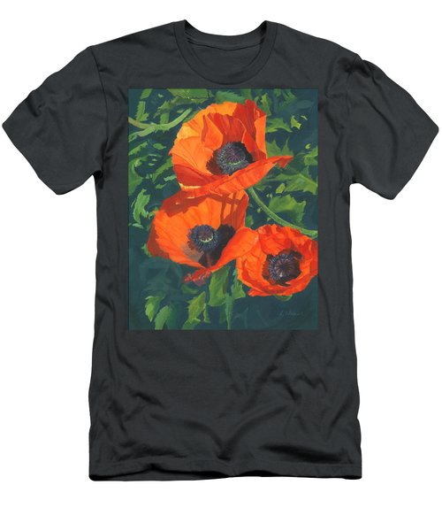 Men's T-Shirt (Slim Fit) featuring the painting Red Poppies Three by Lynne Reichhart