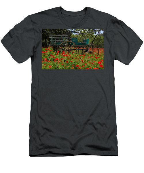 Red Poppies With Wagon Men's T-Shirt (Athletic Fit)