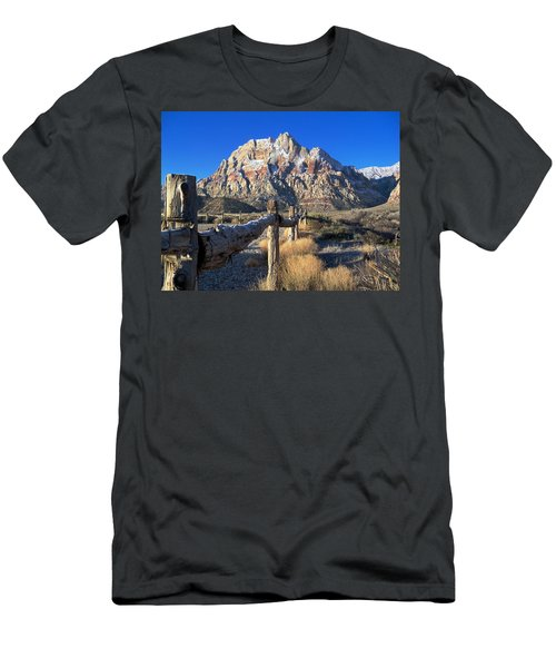 Men's T-Shirt (Slim Fit) featuring the photograph Red Rock Snow by Alan Socolik