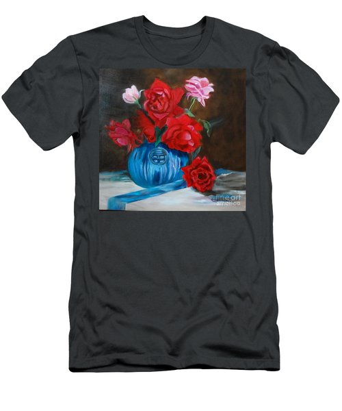 Men's T-Shirt (Slim Fit) featuring the painting Red Roses And Blue Vase by Jenny Lee
