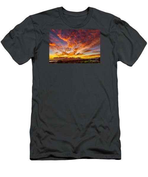 Red Sunset Behind The Waianae Mountain Range Men's T-Shirt (Slim Fit) by Aloha Art