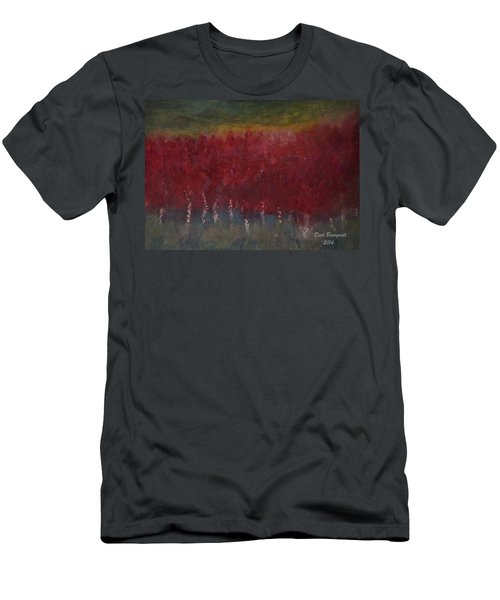 Red Trees Watercolor Men's T-Shirt (Slim Fit) by Dick Bourgault