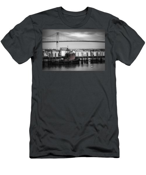 Red Tugboat And Newport Bridge Men's T-Shirt (Athletic Fit)