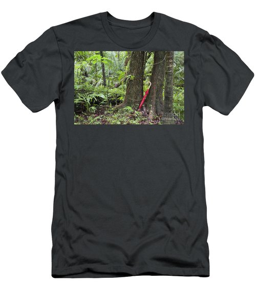 Men's T-Shirt (Athletic Fit) featuring the photograph Red Umbrella Leaning Against Tree In Rainforest by Bryan Mullennix