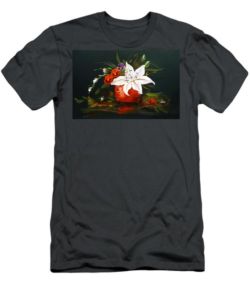Red Vase With Lily And Pansies Men's T-Shirt (Slim Fit) by Dorothy Maier