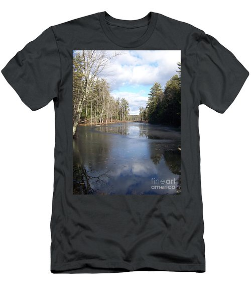 Reflections Caught On Ice At A Pretty Lake In New Hampshire Men's T-Shirt (Slim Fit) by Eunice Miller
