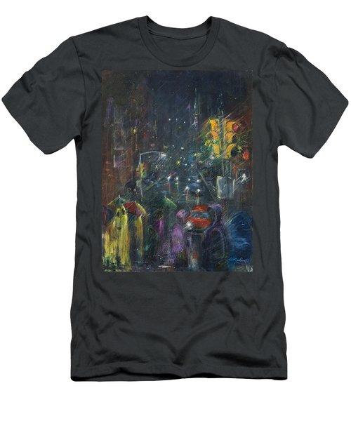 Reflections Of A Rainy Night Men's T-Shirt (Slim Fit) by Leela Payne