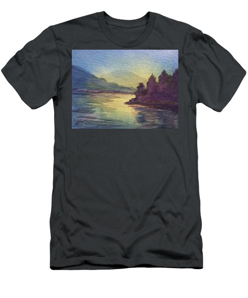 Men's T-Shirt (Slim Fit) featuring the painting Reflections On North South Lake by Ellen Levinson