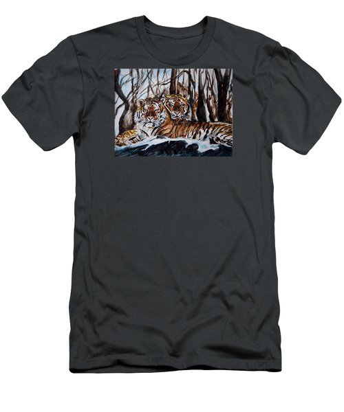 Men's T-Shirt (Slim Fit) featuring the painting Resting by Harsh Malik