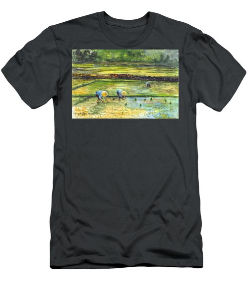 The Rice Paddy Field Men's T-Shirt (Slim Fit) by Carol Wisniewski