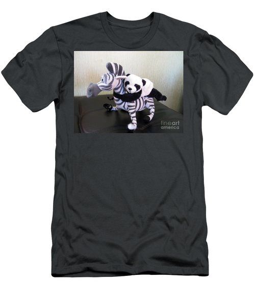 Men's T-Shirt (Slim Fit) featuring the photograph Riding A Zebra.traveling Pandas Series by Ausra Huntington nee Paulauskaite