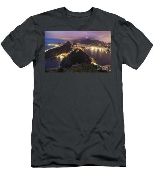 Rio Evening Cityscape Panorama Men's T-Shirt (Slim Fit) by Mike Reid