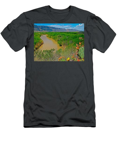 Rio Grande East Of Santa Elena Canyon In  Big Bend National Park-texas Men's T-Shirt (Athletic Fit)