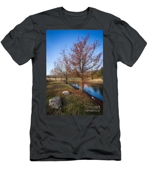 Men's T-Shirt (Athletic Fit) featuring the photograph River And Winter Trees by John Wadleigh