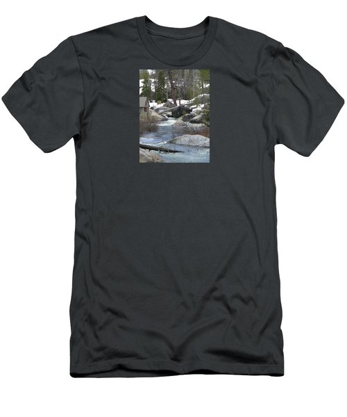 Men's T-Shirt (Slim Fit) featuring the photograph River Cabin by Bobbee Rickard