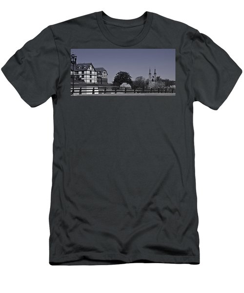 Roanoke Virginia Springtime Cityscape Bw Men's T-Shirt (Athletic Fit)