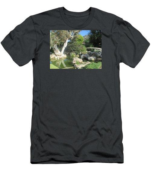 Stone Bridge Pond Men's T-Shirt (Slim Fit) by Vivien Rhyan
