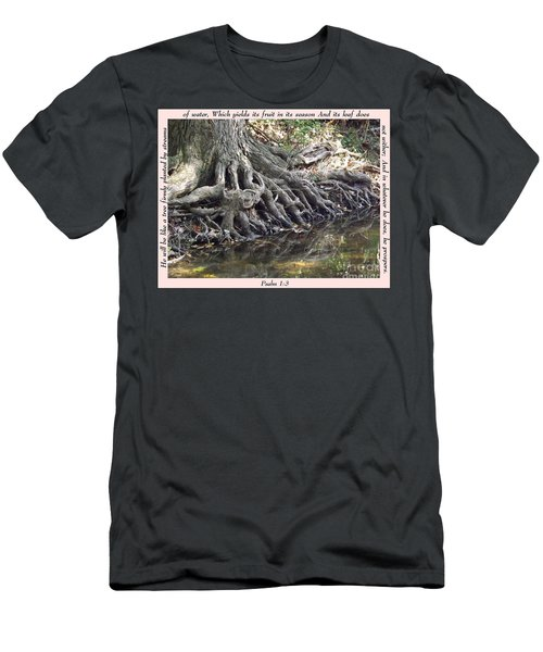 Roots With Verse Psalm 1 3 Men's T-Shirt (Slim Fit) by Sara  Raber