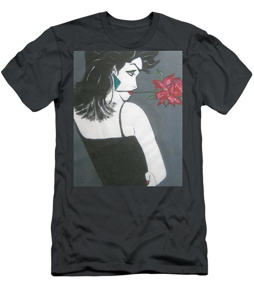 Men's T-Shirt (Slim Fit) featuring the painting Rose Lady by Nora Shepley