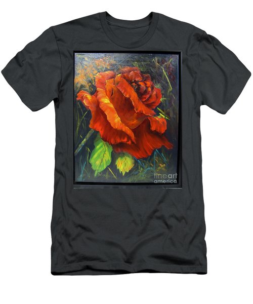 Rose Red Men's T-Shirt (Slim Fit)