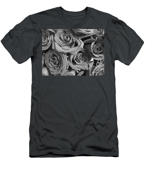 Men's T-Shirt (Slim Fit) featuring the photograph Roses On Your Wall Black And White  by Joseph Baril