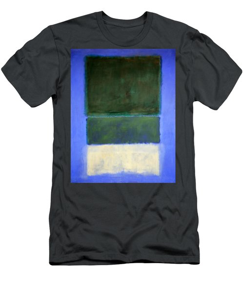 Rothko's No. 14 -- White And Greens In Blue Men's T-Shirt (Slim Fit)