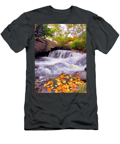 Royal River White Waterfall Men's T-Shirt (Athletic Fit)