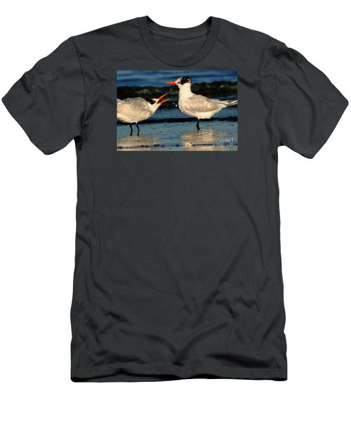 Men's T-Shirt (Slim Fit) featuring the photograph Royal Tern Courtship Dance by John F Tsumas