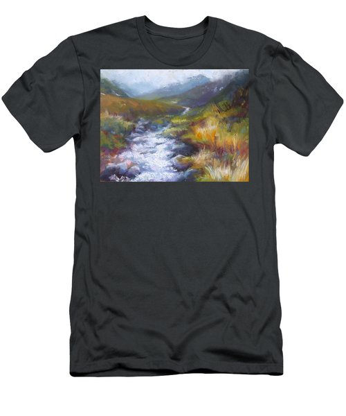 Men's T-Shirt (Athletic Fit) featuring the painting Running Down - Landscape View From Hatcher Pass by Talya Johnson