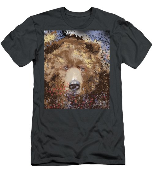 Men's T-Shirt (Slim Fit) featuring the digital art Sad Brown Bear by Kim Prowse