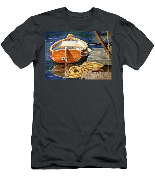 Men's T-Shirt (Slim Fit) featuring the painting Safe Mooring by Roger Rockefeller