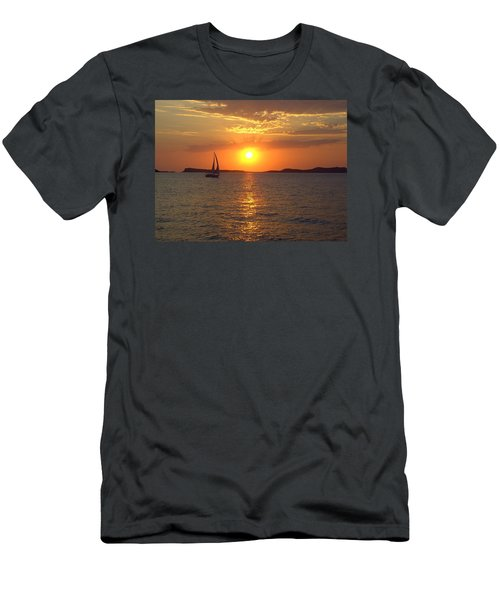 Sailing Boat In Ibiza Sunset Men's T-Shirt (Athletic Fit)