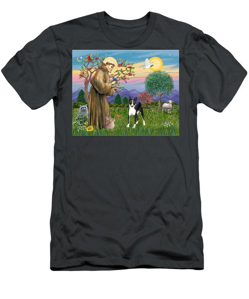 Saint Francis Blesses A Black And White Basenji Men's T-Shirt (Athletic Fit)